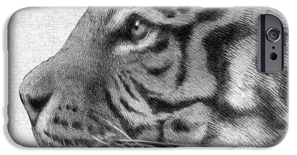 Crayons Drawings iPhone Cases - Tiger iPhone Case by Eric Fan
