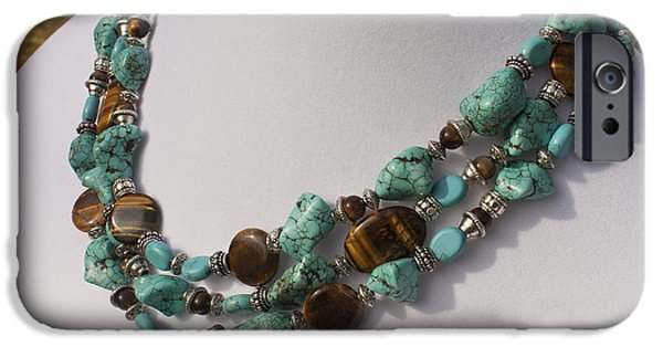 Animals Jewelry iPhone Cases - Tiger Eye and Turquoise Triple Strand Necklace 3640 iPhone Case by Teresa Mucha