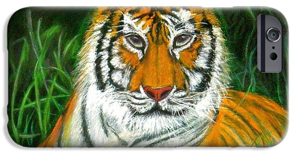 Stripes Pastels iPhone Cases - Tiger Eyes - Pastel iPhone Case by Antonia Citrino