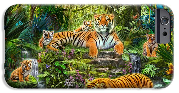 Botanical Photographs iPhone Cases - Tiger Family at the Pool iPhone Case by Jan Patrik Krasny