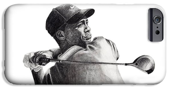 Nike Drawings iPhone Cases - Tiger Follow Through iPhone Case by Devin Millington