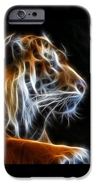 Tiger Fractal iPhone Cases - Tiger Fractal 2 iPhone Case by Shane Bechler