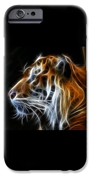 Tiger Fractal iPhone Case by Shane Bechler