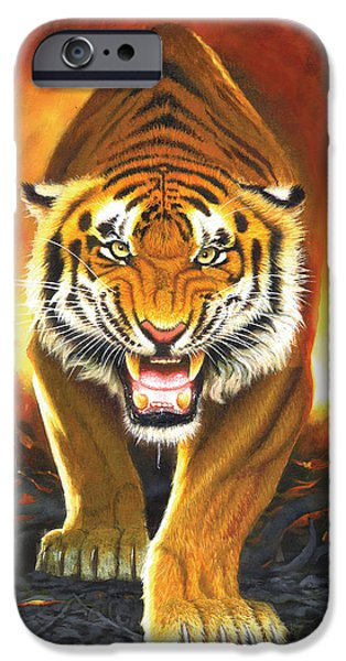 Animals Photographs iPhone Cases - Tiger From The Embers iPhone Case by Chris Heitt
