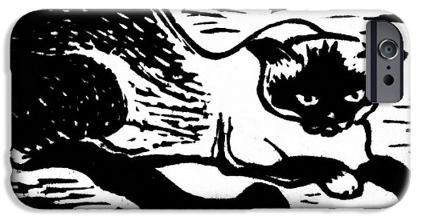Linocut iPhone Cases - Tiger iPhone Case by Gun Legler
