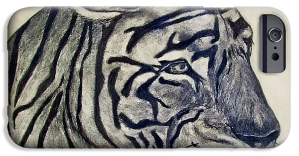 Photomanipulation Drawings iPhone Cases - Tiger II iPhone Case by Debbie Portwood