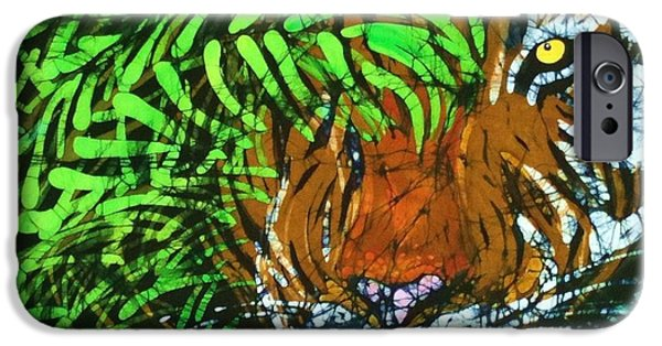 Wild Animals Tapestries - Textiles iPhone Cases - Tiger in Bamboo  iPhone Case by Kay Shaffer