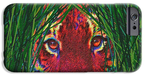 The Tiger iPhone Cases - Tiger In The Grass iPhone Case by Jane Schnetlage
