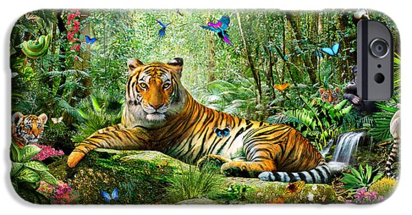 Bravery iPhone Cases - Tiger In The Jungle iPhone Case by Adrian Chesterman