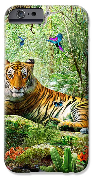 Tiger In The Jungle iPhone Case by Adrian Chesterman