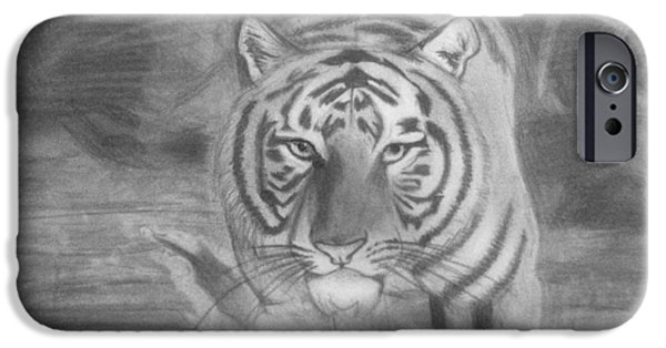The Tiger Drawings iPhone Cases - Tiger in the Water iPhone Case by Maya Pettway