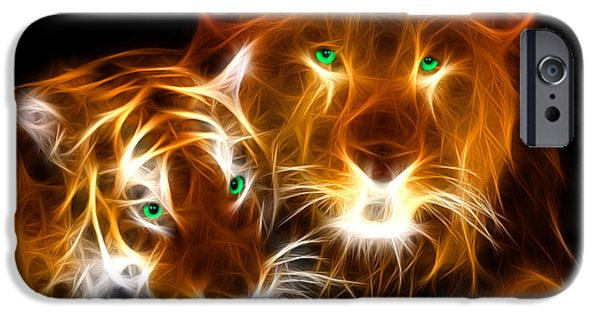 The Tiger Digital Art iPhone Cases - Tiger Lion  iPhone Case by Mark Ashkenazi