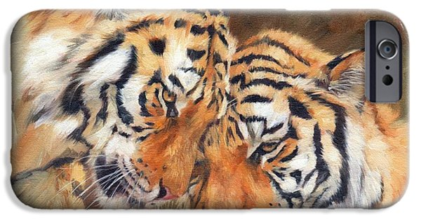 David iPhone Cases - Tiger Love iPhone Case by David Stribbling