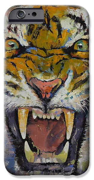 Rage iPhone Cases - Tiger iPhone Case by Michael Creese