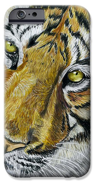 Tiger Painting iPhone Case by Michelle Wrighton