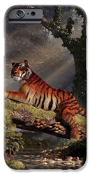 Eye Of The Tiger iPhone Cases - Tiger on a Log iPhone Case by Daniel Eskridge