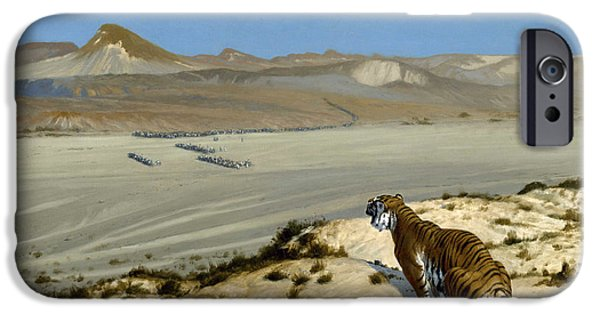 The Tiger iPhone Cases - Tiger on the Watch iPhone Case by Jean-Leon Gerome