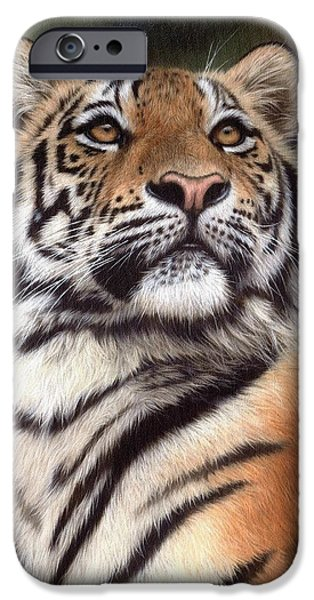Tiger Art iPhone Cases - Tiger Painting iPhone Case by Rachel Stribbling