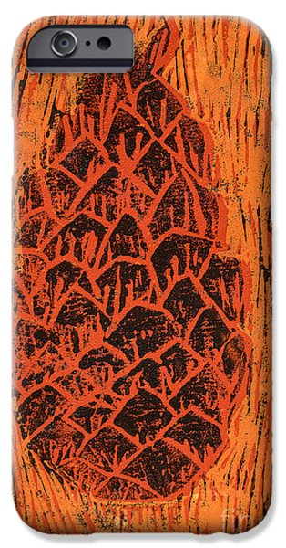 Pines Mixed Media iPhone Cases - Tiger Pine Cone iPhone Case by Amanda And Christopher Elwell