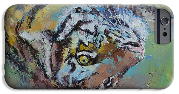 Michael Paintings iPhone Cases - Tiger Play iPhone Case by Michael Creese