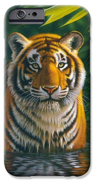 Portraits iPhone Cases - Tiger Pool iPhone Case by MGL Studio - Chris Hiett