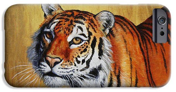 Bengal Tiger iPhone Cases - Tiger Portrait iPhone Case by Crista Forest