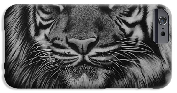 Beautiful Cat Drawings iPhone Cases - Tiger iPhone Case by Samantha Howell