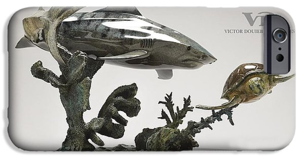 Shark Sculptures iPhone Cases - Tiger Shark with Turtle iPhone Case by Victor Douieb