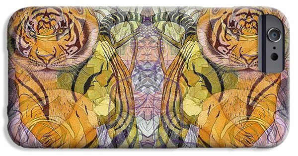 Pen And Ink iPhone Cases - Tiger Spirits in the Garden of the Buddha iPhone Case by Joseph J Stevens