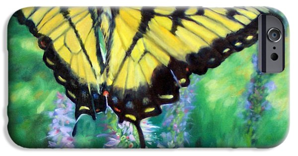 Garden Scene Paintings iPhone Cases - Tiger Swallowtail- Enjoying the Sweetness iPhone Case by Bonnie Mason