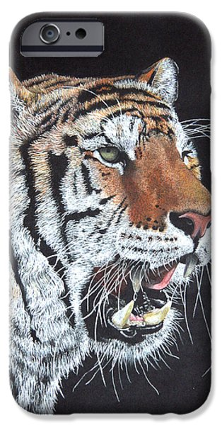 The Tiger Drawings iPhone Cases - Tiger Tiger Burning Bright iPhone Case by John Hebb