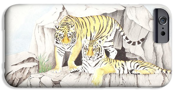 Beautiful Cat Drawings iPhone Cases - Tiger Twins iPhone Case by Dag Sla