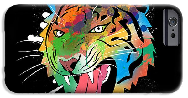 The Tiger Digital Art iPhone Cases - Tiger Vector  iPhone Case by Mark Ashkenazi