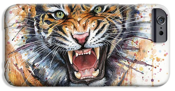 Zoo iPhone Cases - Tiger Watercolor Portrait iPhone Case by Olga Shvartsur