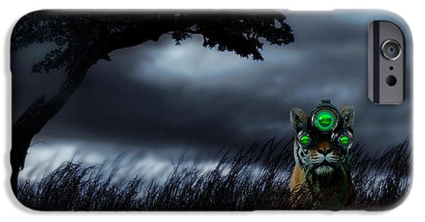The Tiger iPhone Cases - Tiger Wearing Night Vision Goggles iPhone Case by Panoramic Images
