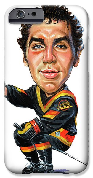 Hockey Paintings iPhone Cases - Tiger Williams iPhone Case by Art
