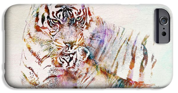 Marian iPhone Cases - Tiger with Cub watercolor iPhone Case by Marian Voicu