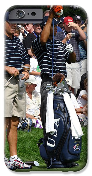 Tiger Woods iPhone Cases - Tiger Woods - Steve Williams iPhone Case by James Marvin Phelps