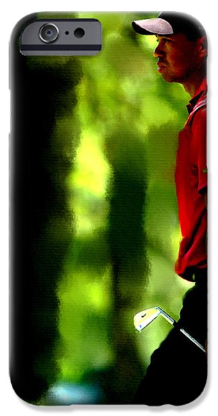 Us Open Mixed Media iPhone Cases - Tiger Woods 3 iPhone Case by Brian Reaves