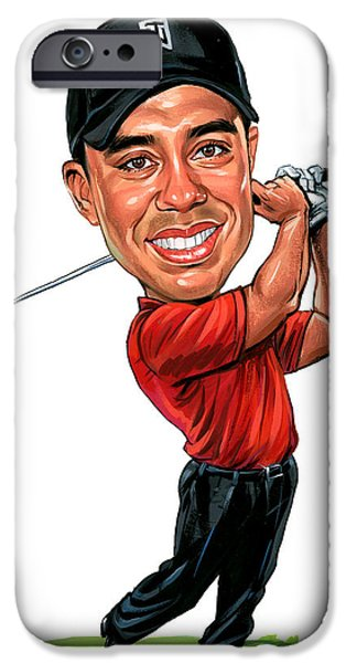 Golfing iPhone Cases - Tiger Woods iPhone Case by Art