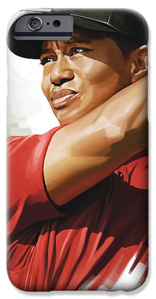 Sport Portraits Mixed Media iPhone Cases - Tiger Woods Artwork iPhone Case by Sheraz A