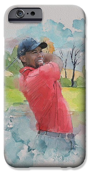 Tiger Woods iPhone Cases - Tiger Woods iPhone Case by Catf
