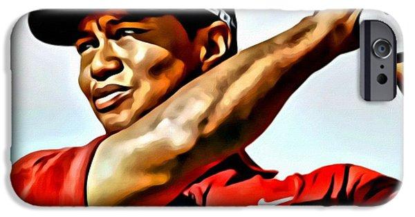Oil Portrait Photographs iPhone Cases - Tiger Woods iPhone Case by Florian Rodarte