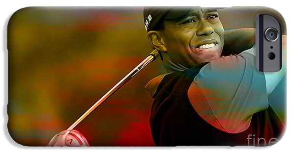 Tigers iPhone Cases - Tiger Woods iPhone Case by Marvin Blaine