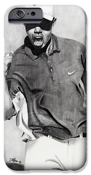 Nike Drawings iPhone Cases - Tiger Woods Pumped iPhone Case by Devin Millington