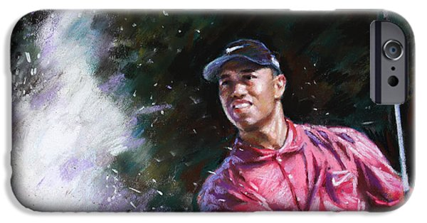 Professional Drawings iPhone Cases - Tiger Woods  iPhone Case by Viola El