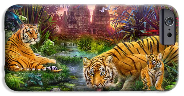 House iPhone Cases - Tigers at the Ancient Stream iPhone Case by Jan Patrik Krasny