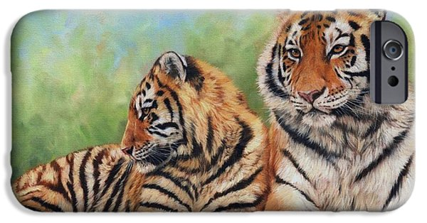 Tigers iPhone Cases - Tigers iPhone Case by David Stribbling
