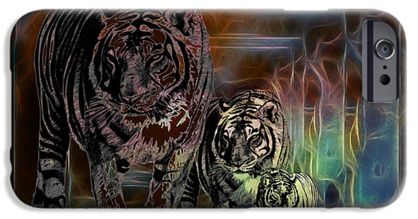 Tiger Fractal iPhone Cases - TIGERS-Featured in Visions in the Night iPhone Case by EricaMaxine  Price