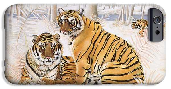 Snow iPhone Cases - Tigers In The Snow, 2005 Acrylic On Canvas iPhone Case by E.B. Watts